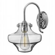 Congress Single Wall Light in Polished Chrome with a Clear Glass Shade - HINKLEY HK/CONGRES1/B CM